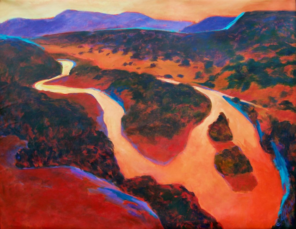 A painting of a river crossing a dense landscape in the autumn at sunset