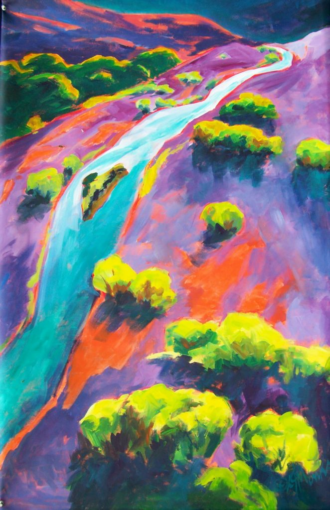 A painting of a colorful landscape split by a large river