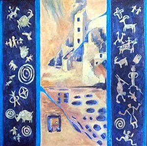 A painting of cave painting symbols and ancient ruins
