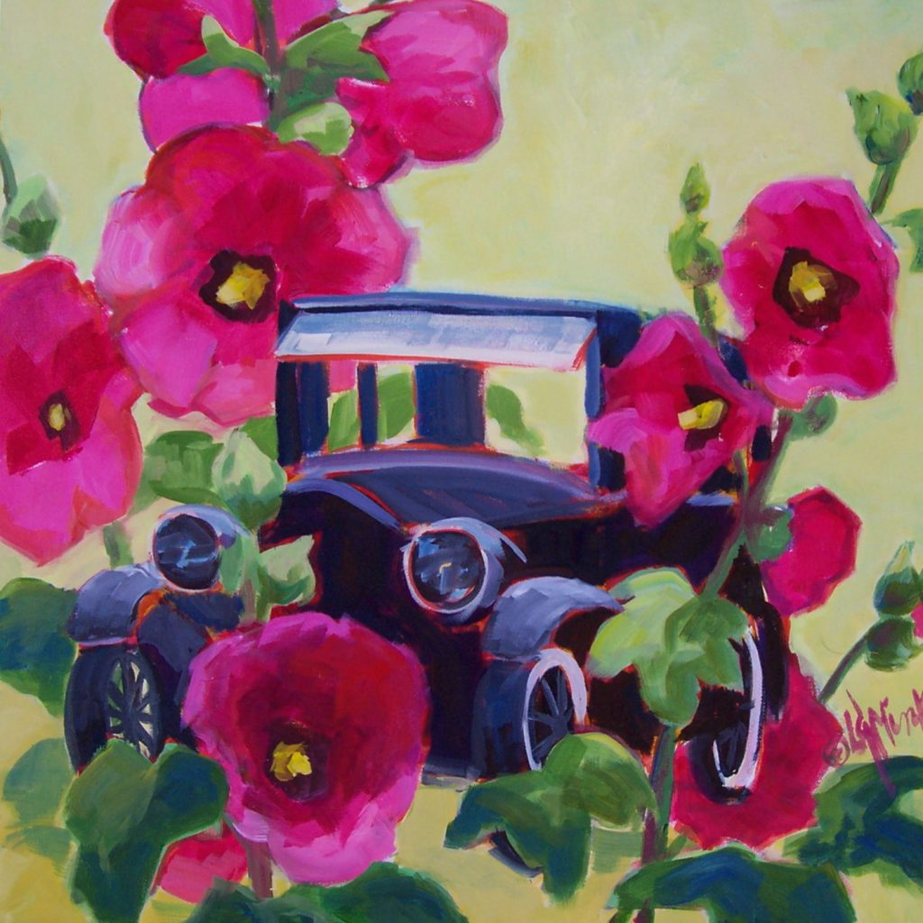 A painting of a black old fashioned car and large hollyhock flowers