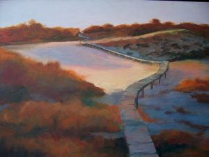 A painting of a winding boardwalk on the beach in the autumn