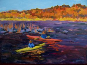 A painting of two people kayaking in the autumn