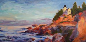 A painting of a lighthouse high up on rocky cliffs