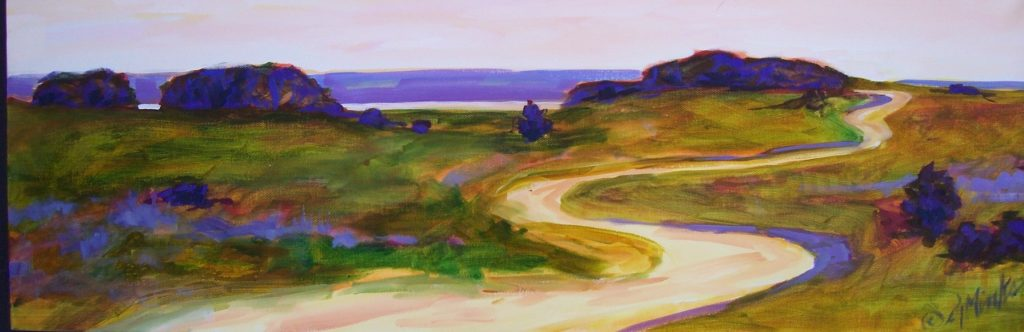 A painting of a dirt road along the shore