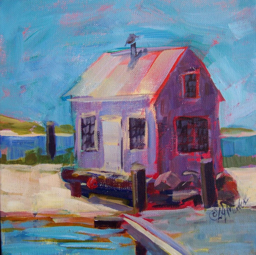 A painting of a boat house on a dock