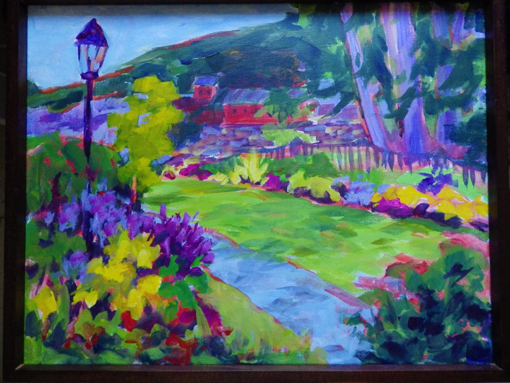 A painting of a bridge covered in flowers