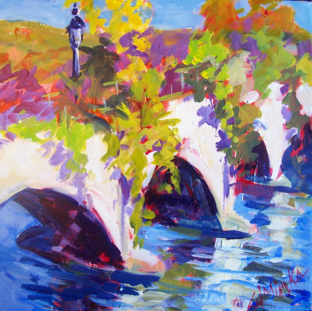 A painting of a bridge covered in flowers and a flowing river