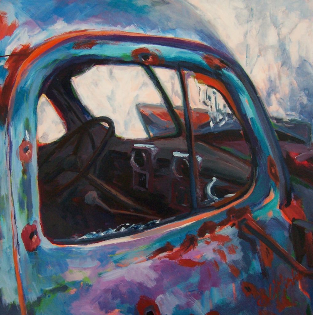 A painting of an old truck with a broken window