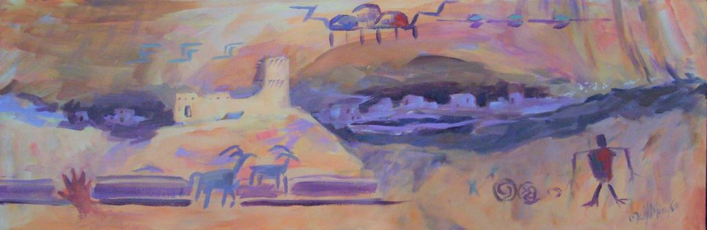 An abstract painting of cave paintings and southwestern adobe buildings