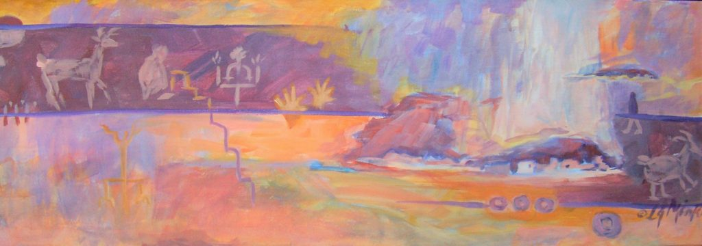 An abstract painting of cave paintings and southwestern mountains