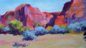 A painting of rocky cliffs and scrubby vegetation
