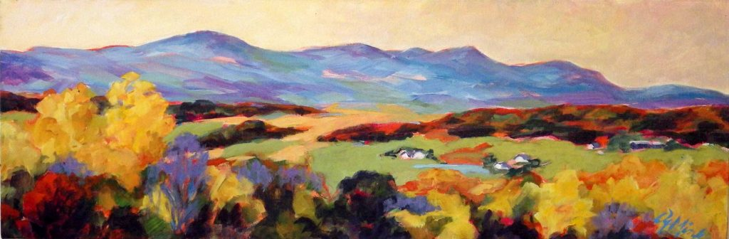 A painting of the Catskill Mountains in New York in the autumn