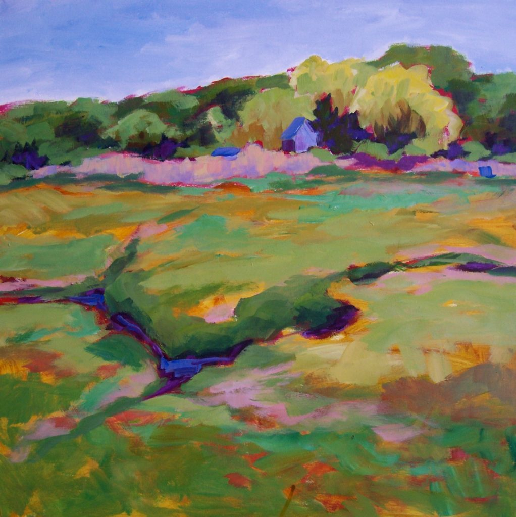 A painting of a marshy landscape
