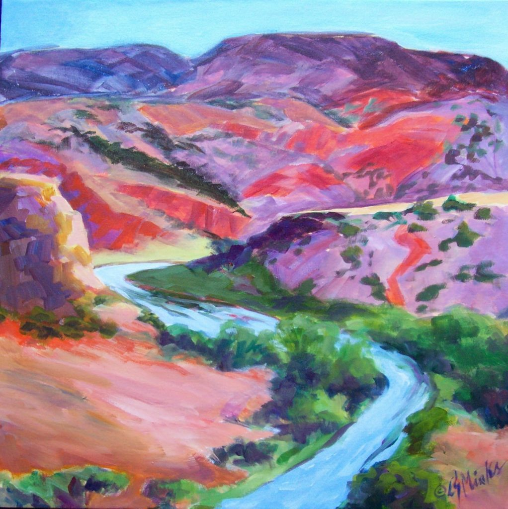 A painting of colorful hills and a winding river