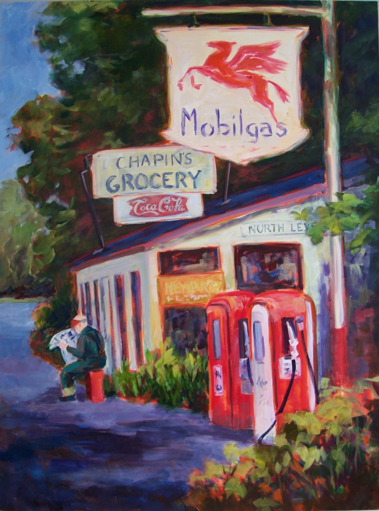 A painting of a small general goods store with a gas station and a person reading the newspaper out front