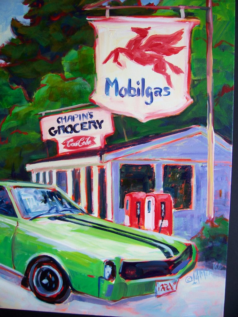 A painting of a small general goods store with a gas station and a green sportscar parked at the front