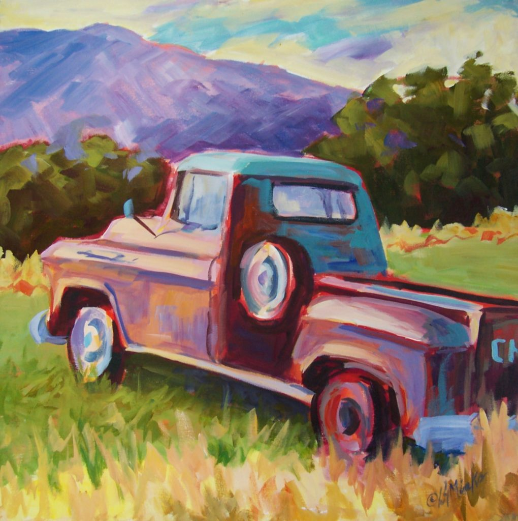 A painting of an old fashioned Chevy truck in a field