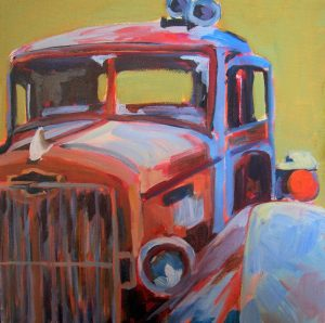A painting of a detailed view of an old fashioned firetruck