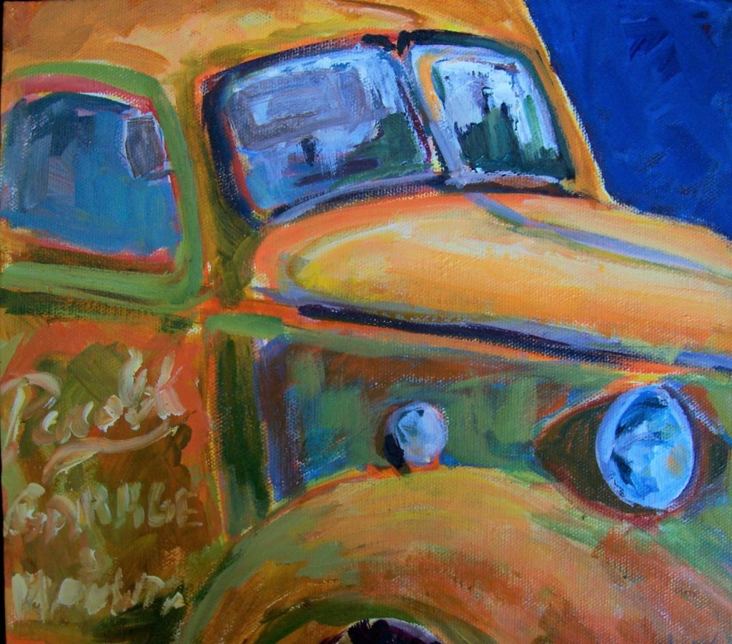 A painting of a detailed view of an old fashioned truck