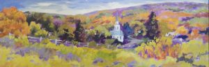 A painting of a steeple rising from treetops in a rural area in the autumn