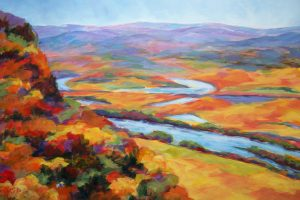 A painting of an aerial view of a river winding through a hilly autumn landscape