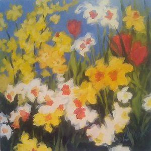 A painting of blooming daffodils