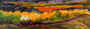 A painting of a stream train traveling through rolling autumn hills