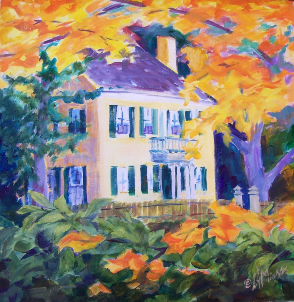 A painting of a yellow colonial home in the autumn