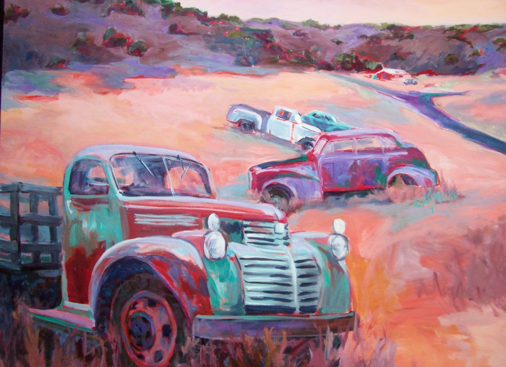 A painting of rusted vehicles in a field