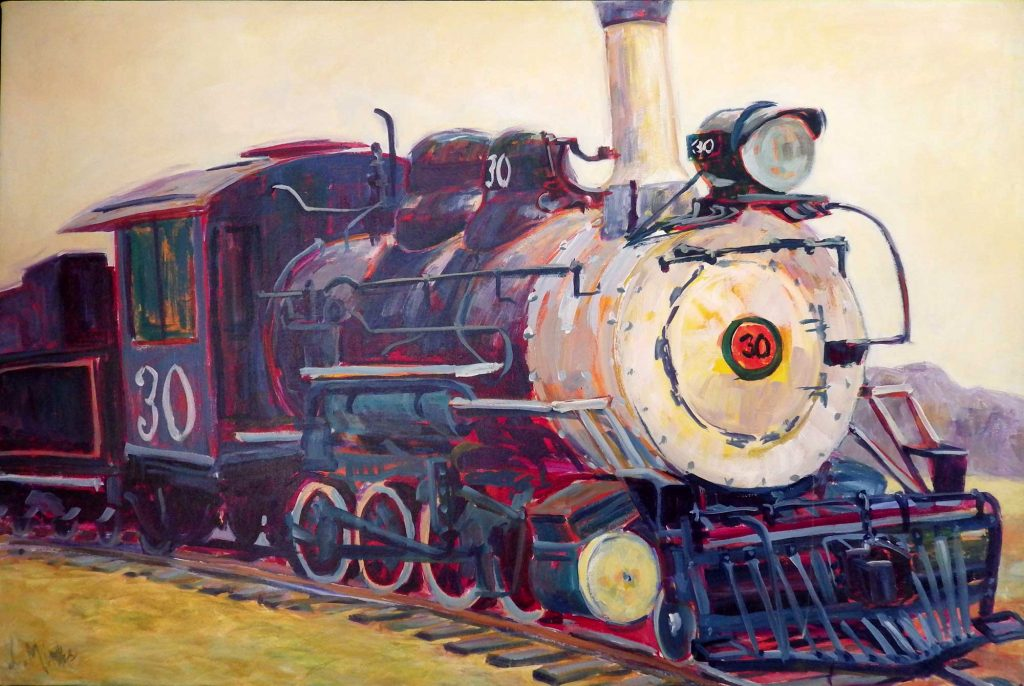 A painting of a close up of an old fashioned steam train