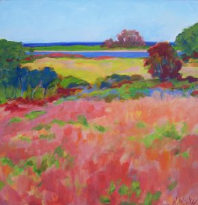A painting of colorful fields leading to the ocean