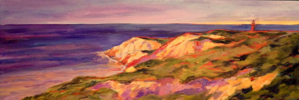A painting of cliffs and a lighthouse by the shore