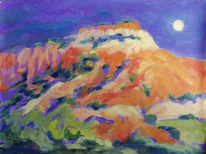 A painting of a tall mesa at night under a full moon