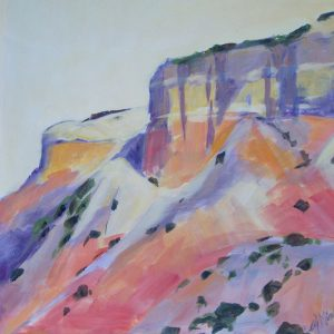 A painting of a rock formation and mesa in the southwest