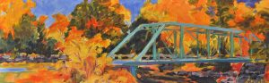 A painting of a green iron bridge in the autumn