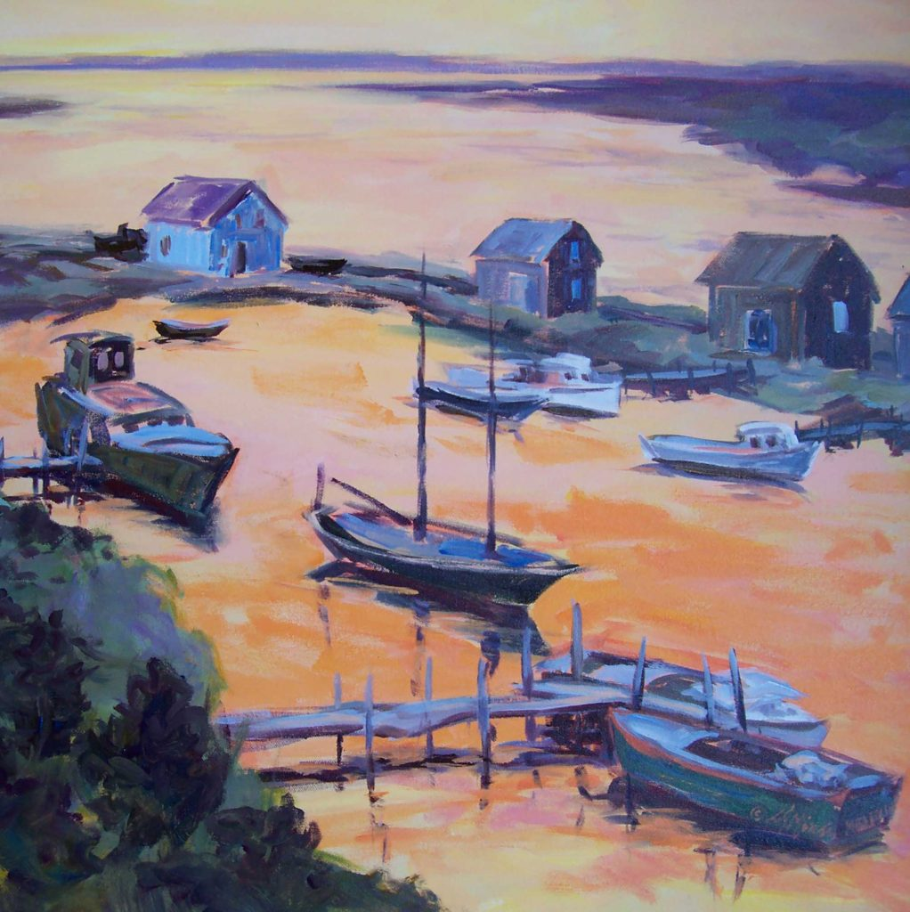 A painting of ships in a harbor with sunset turning the water orange