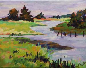 A painting of a river with a broken down dock