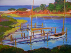 A painting of sailboats tied up at a dock in a bay