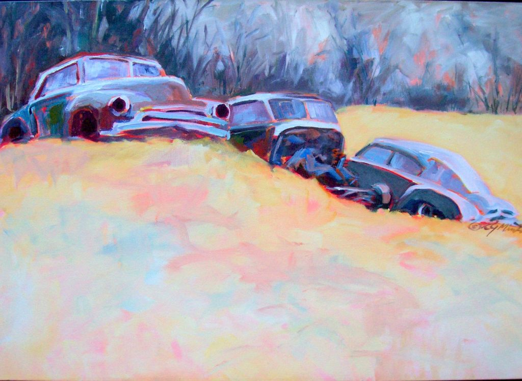 Painting of three abandoned cars on a hillside