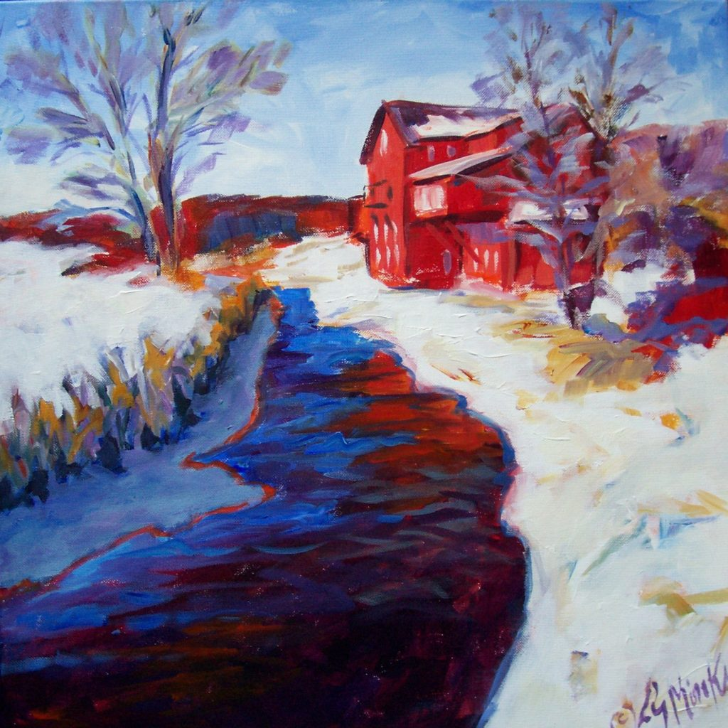 A painting of a historic, bright red mill along a river in the snow