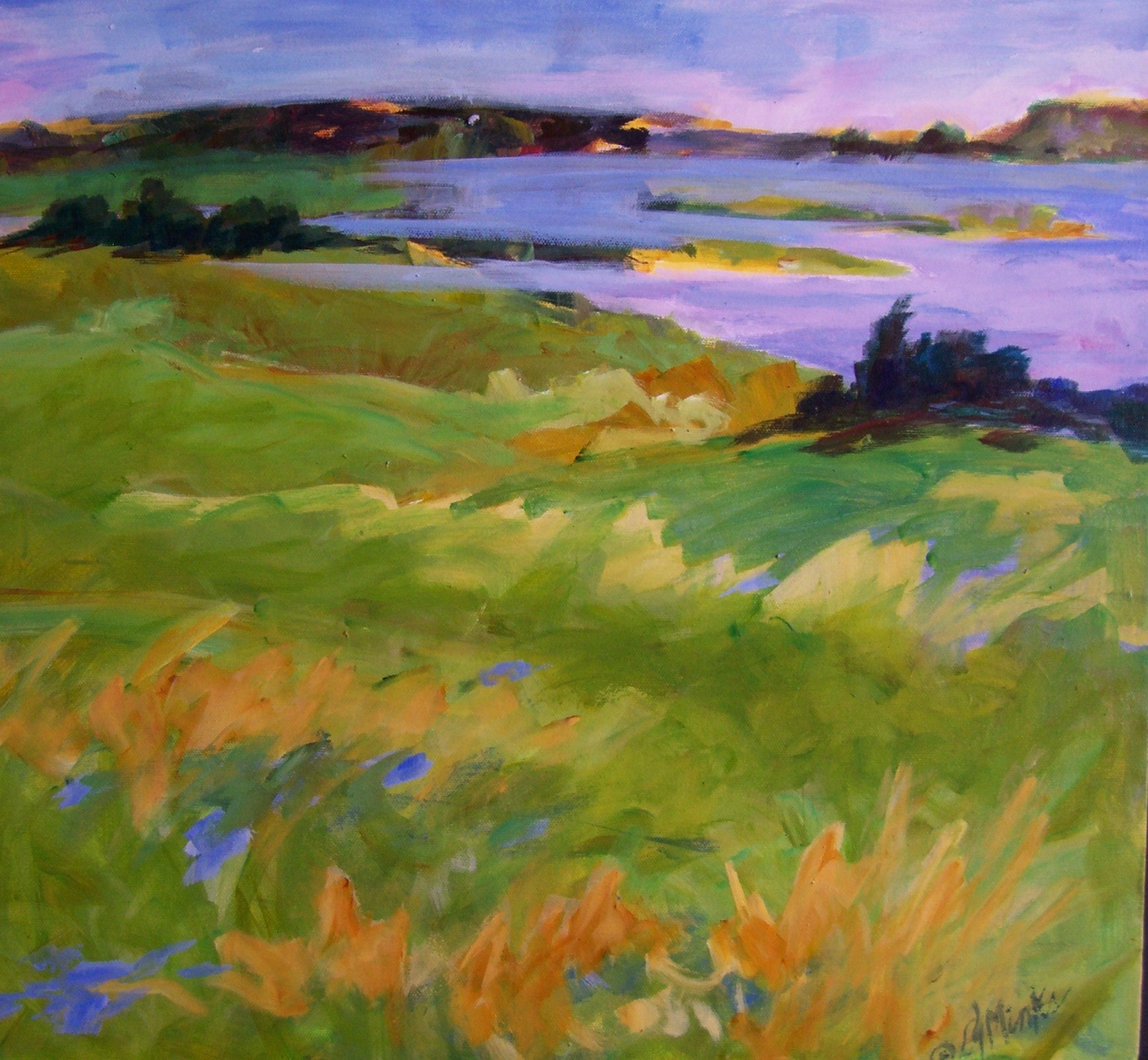 A painting of grass blown in the wind and a large river