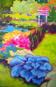 A painting of blooming plants and waterways in a Japanese garden