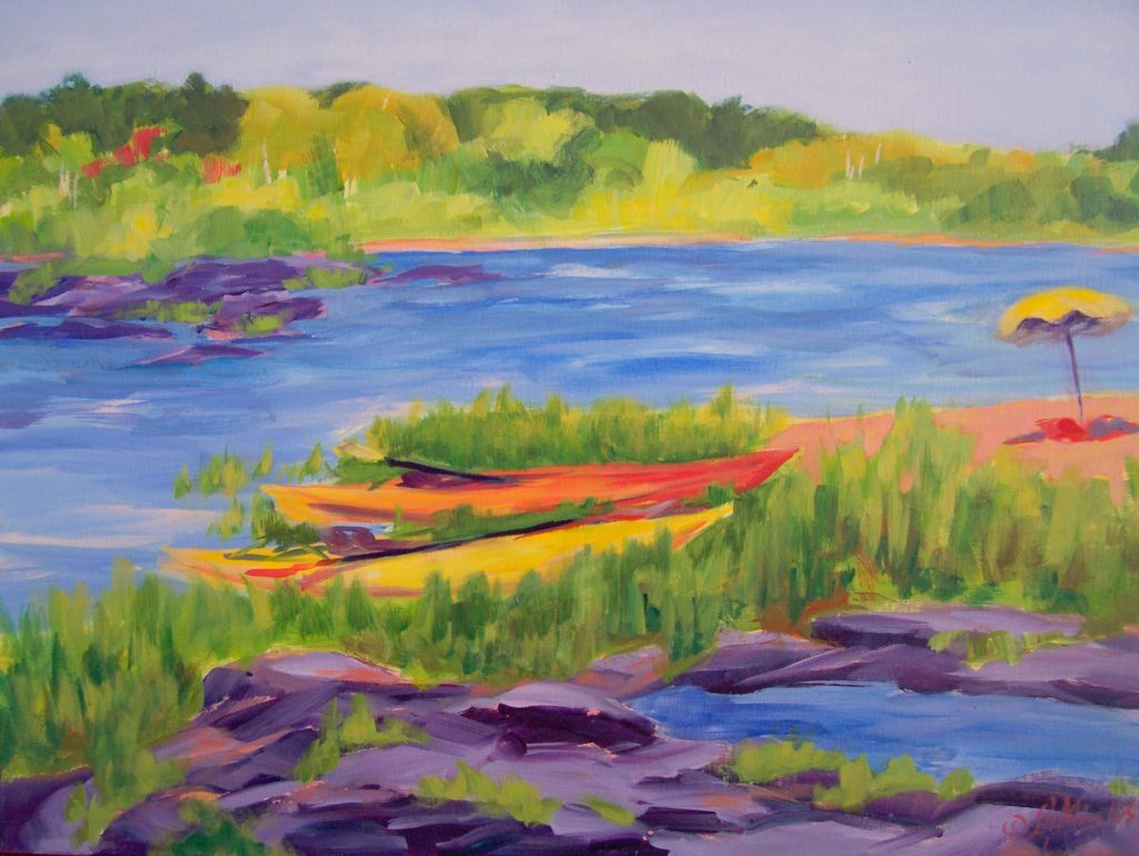 A painting of kayaks resting on a beach near a body of water