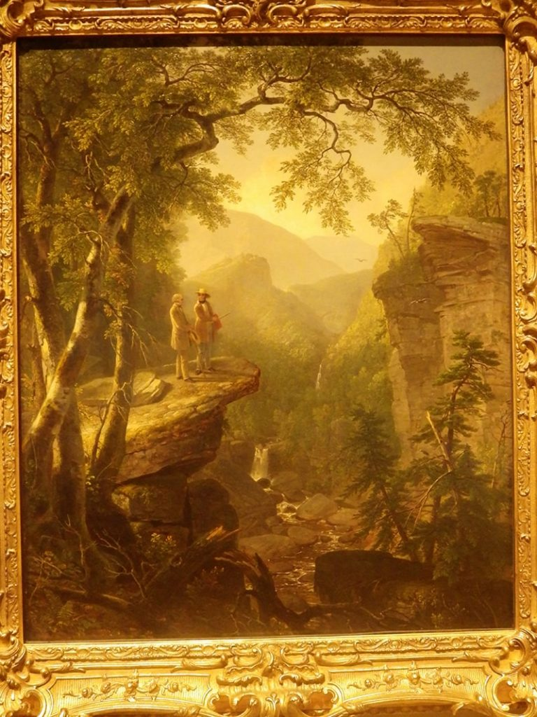 A painting of two men staning on a cliff overlooking a verdant landscape