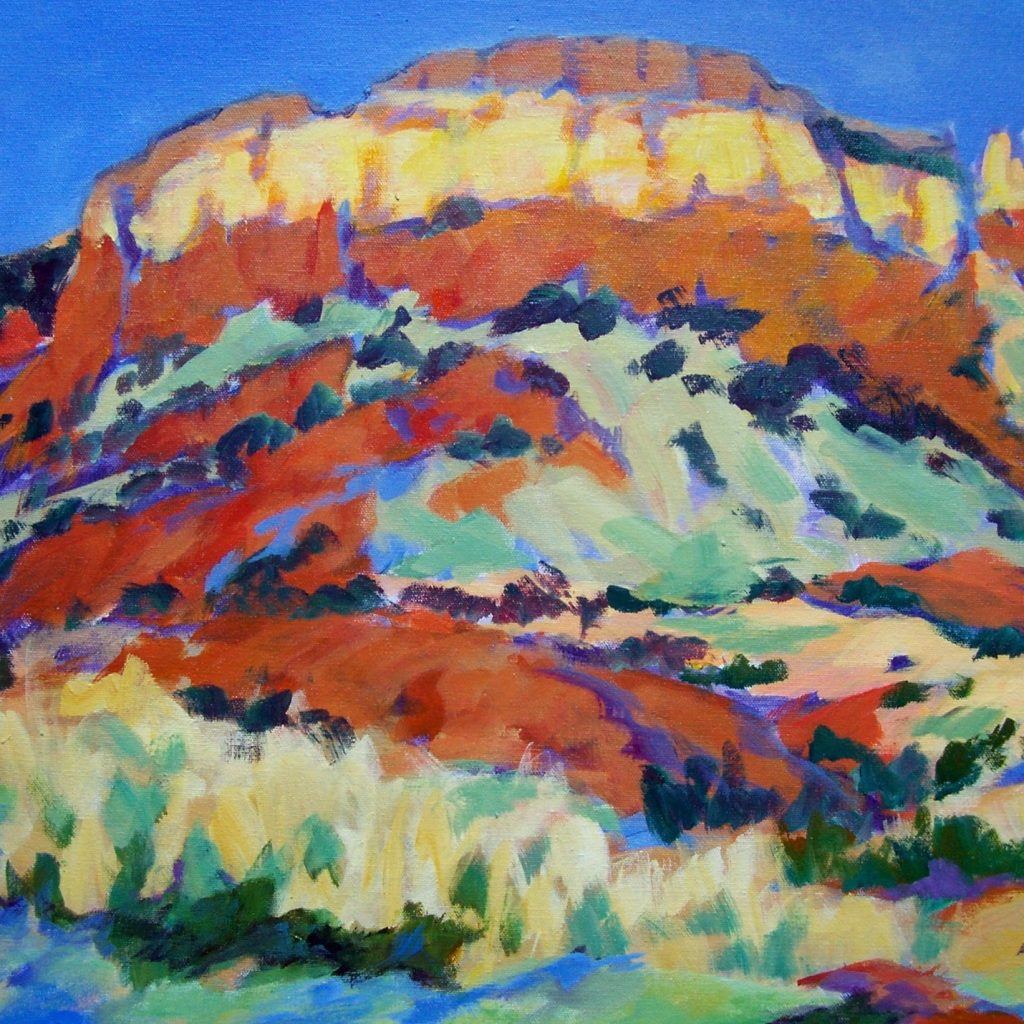 A painting of a huge southwestern mesa