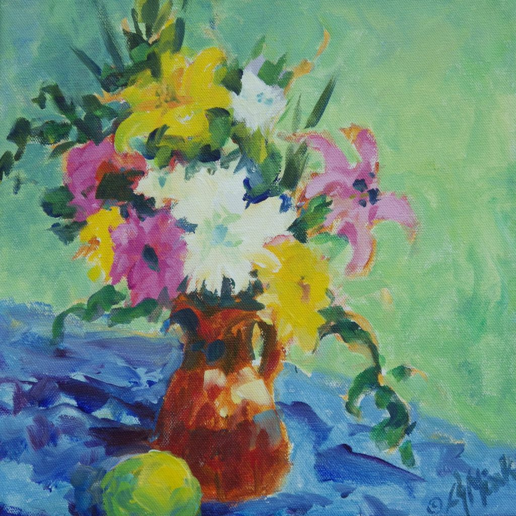 A painting of a bouquet of lillies and daffodils on a table