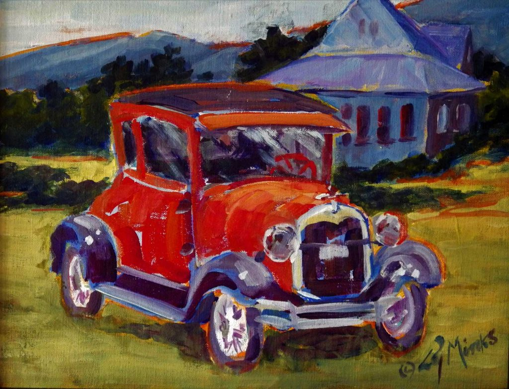 A painting of an old fashioned red car sitting in a field