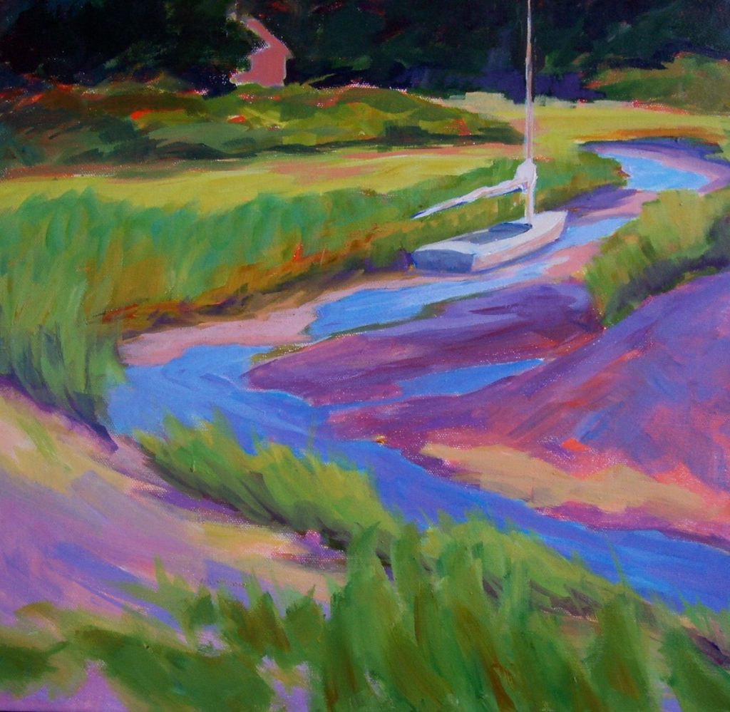 A painting of a sailboat stuck in the mud in a creek at low tide