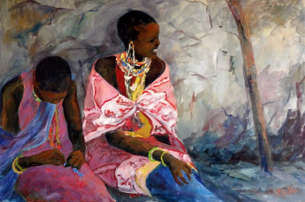 A painting of two women in traditional African garb sitting and smiling