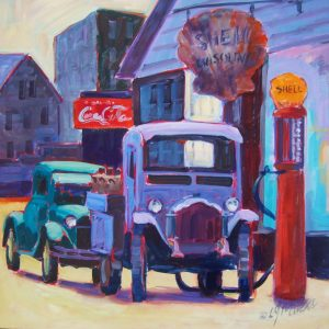 A painting of old fashioned cars getting gas at a Shell station